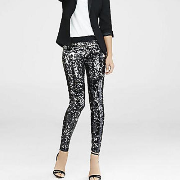5caeaccb2d6d3 Express Pants | Silver Black Sequin Leggings | Poshmark